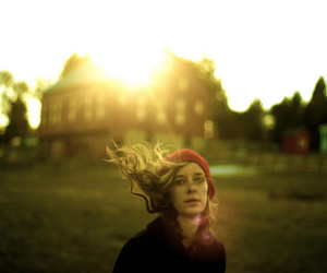 beanie, wind, and blonde image