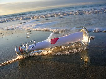 beach, bottle, and message in a bottle image