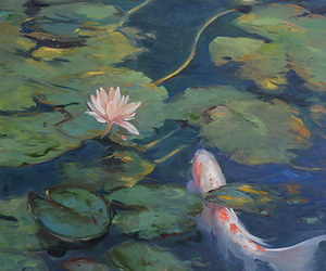 koi, lake, and lily pads image