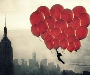 balloons, red, and fly image