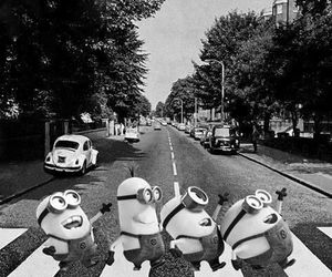 b&w, indie, and minions image