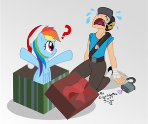 MLP, team fortress, and rainbow dash image