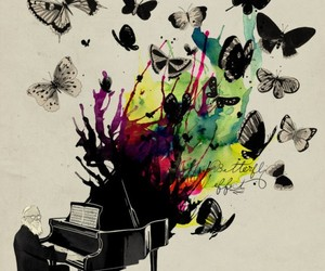 butterfly, piano, and music image