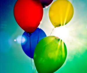balloons, blue, and clouds image