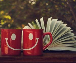 book, smile, and red image