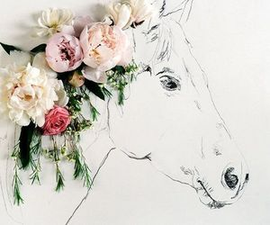 flowers, horse, and art image