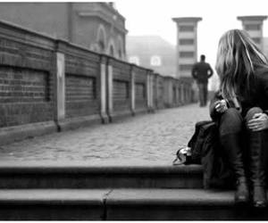 black and white, boy, and alone image