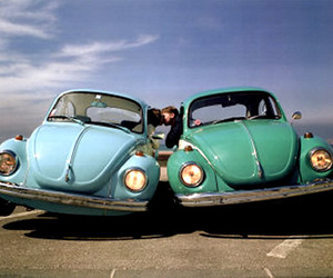 car, blue, and couple image