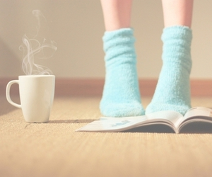 book, socks, and blue image