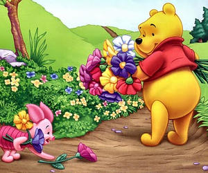 pooh, flowers, and winnie the pooh image