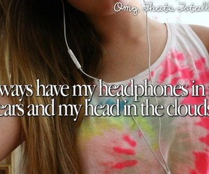 headphones, music, and clouds image