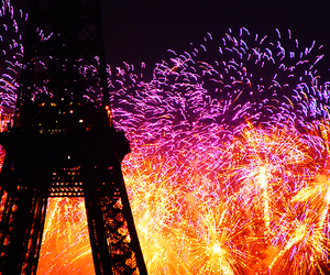 fireworks, paris, and eiffel tower image