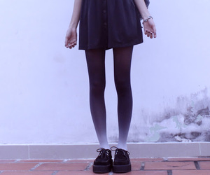 black, creepers, and dress image