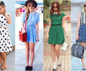 dresses, polka dot pattern, and very cute image