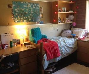 bed, college, and dorm image