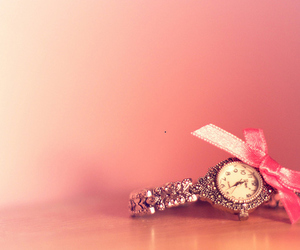 watch, pink, and clock image