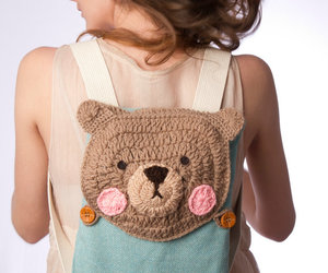 backpack, bear, and crochet image