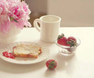 strawberry, flowers, and breakfast image