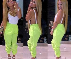 fashion, girl, and neon image