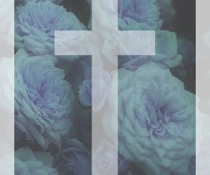 blue, cross, and flowers image