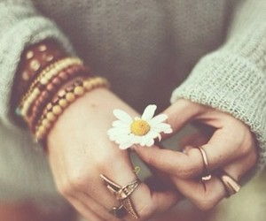 bracelets, flower, and sweater image