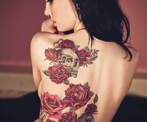 tattoo, rose, and skull image