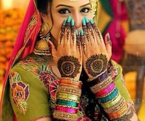 beautiful, bride, and mehndi image