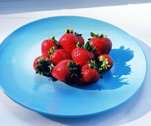 blue, fruit, and strawberries image
