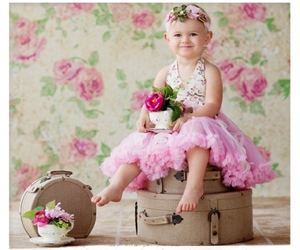 little girl, pink dress, and time for tea image