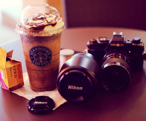 starbucks, nikon, and camera image