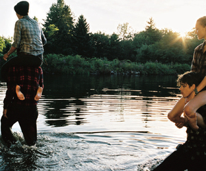 camping, clothes, and swimming image