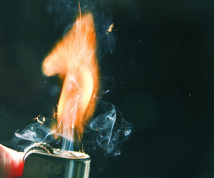 fire, lighter, and smoke image