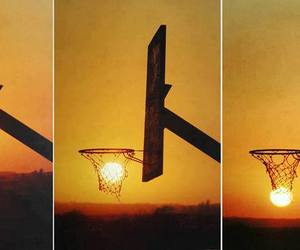 sun, Basketball, and sunset image