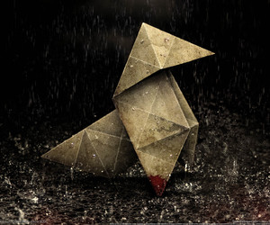 origami, rain, and heavy rain image