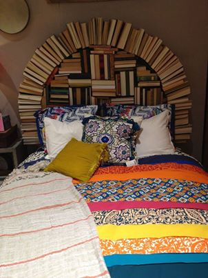 bedrooms, beds, and headboard of books image