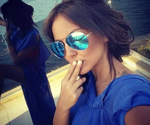 girl, blue, and sunglasses image