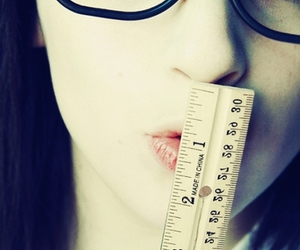 girl, glasses, and ruler image