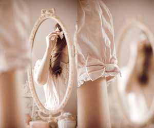 girl, bow, and mirror image
