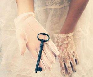 key, gloves, and lace image