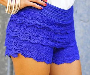 blue, shorts, and lace image