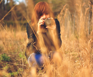 camer, field, and girl image
