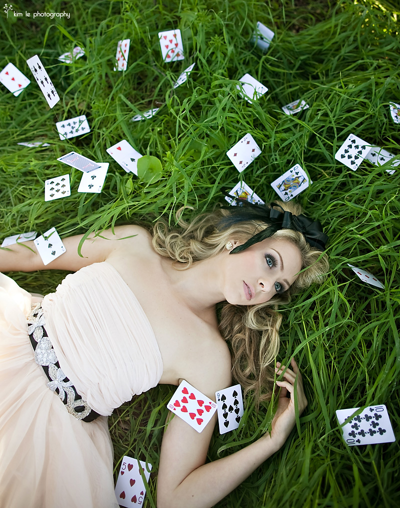 alice in wonderland, cards, and girl image