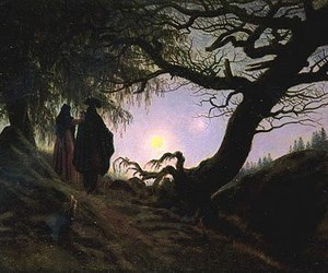art, caspar david friedrich, and moon image