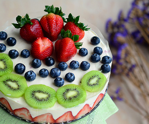 cake, fruit, and food image