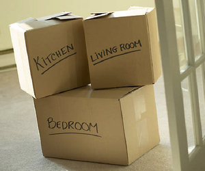 boxes, living room, and kitchen image