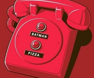 batman, pizza, and phone image