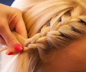 bangs, blonde, and braid image