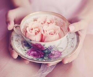 cup, flowers, and vintage image