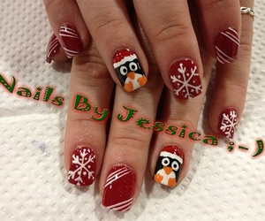 christmas, nails, and penguin image