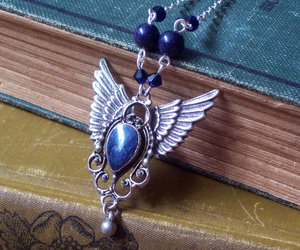 blue, gothic jewelry, and wings image